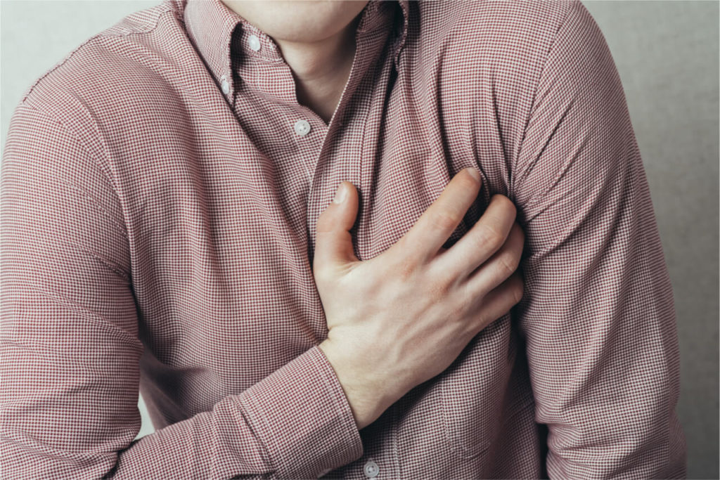man with chest pain stress
